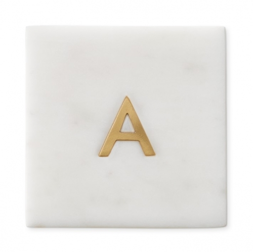 Marble Coaster With Letters Natural Stone Golden Coaster