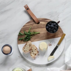 Round Marble And Wood Cutting Board Cheese Board