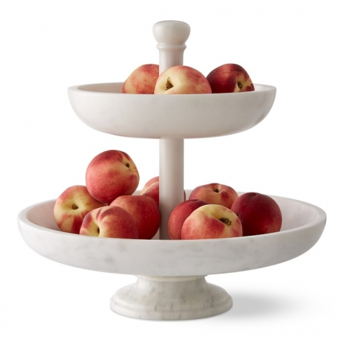 Marble Tiered Fruit Basket Cookie Dessert Stand
