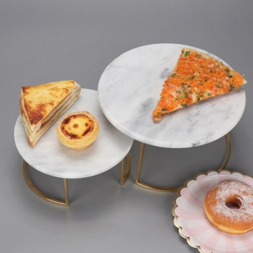 Round Marble Cake Stand With Iron Foot Cake Serving Tray