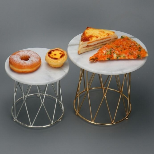 Marble and Metal Cake Stand Wedding Cake Stands Golden Cake Serving Tray
