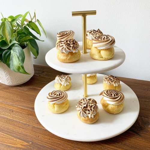 2-Tier Cookie Holder Cake Stand Marble Golden Cake Stand Dessert Server