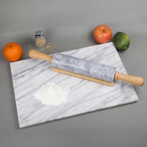 Amazon Hot Selling Marble Ceramic Rolling Pin Marble with Wooden Stand