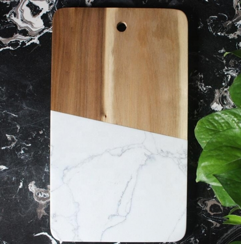 Rectangle Wood And Marble Cutting Board White Marble Cheese Board With Handle