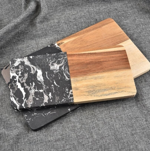Black Marble and Acacia Cutting Board Wood and Marble Wood Cutting Board