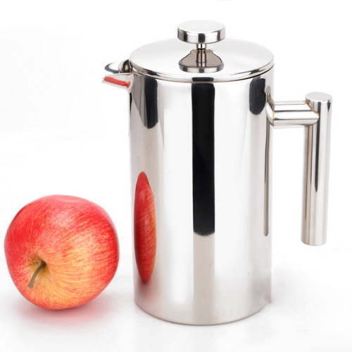 1L Cylindrical Stainless Steel Double Wall French Press